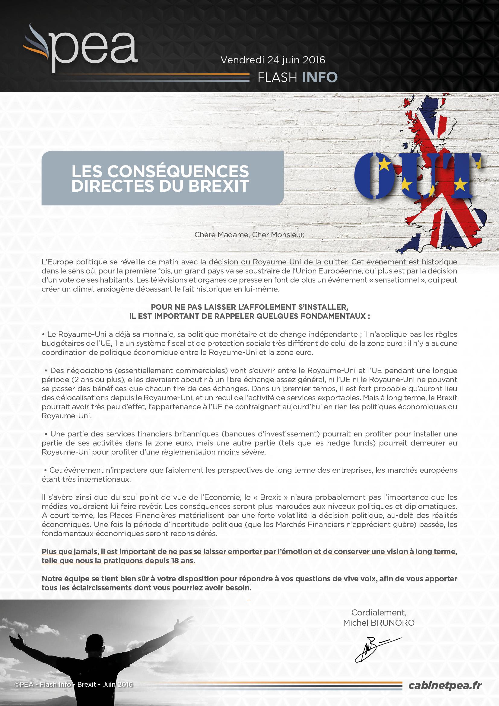 Les conséquences attendues du Brexit